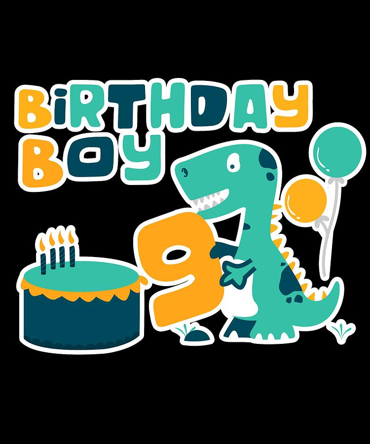 9th Birthday Boy Dinosaur Party Dinosaur Birthday Digital