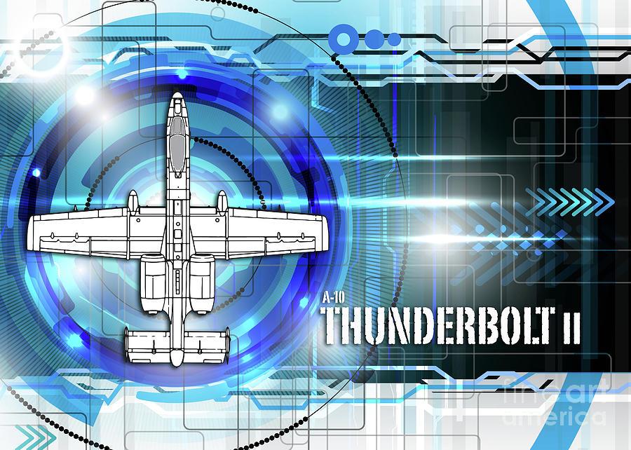 A 10 thunderbolt ii blueprint digital art by j biggadike a 10 digital art a 10 thunderbolt ii blueprint by j biggadike malvernweather Images