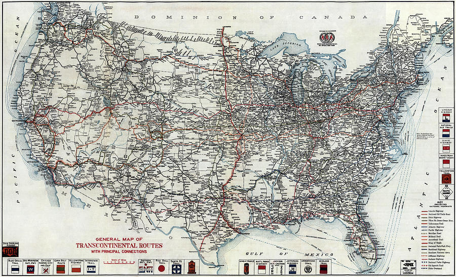 A A A United States Road Map 1912
