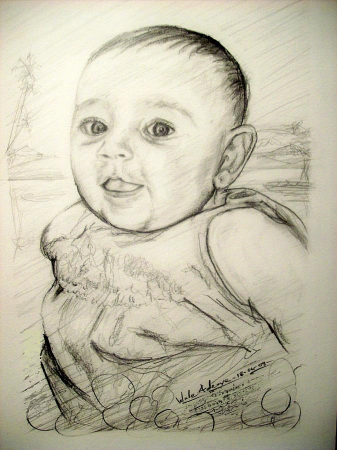 Pencil Drawing - A Baby Smile by Wale Adeoye
