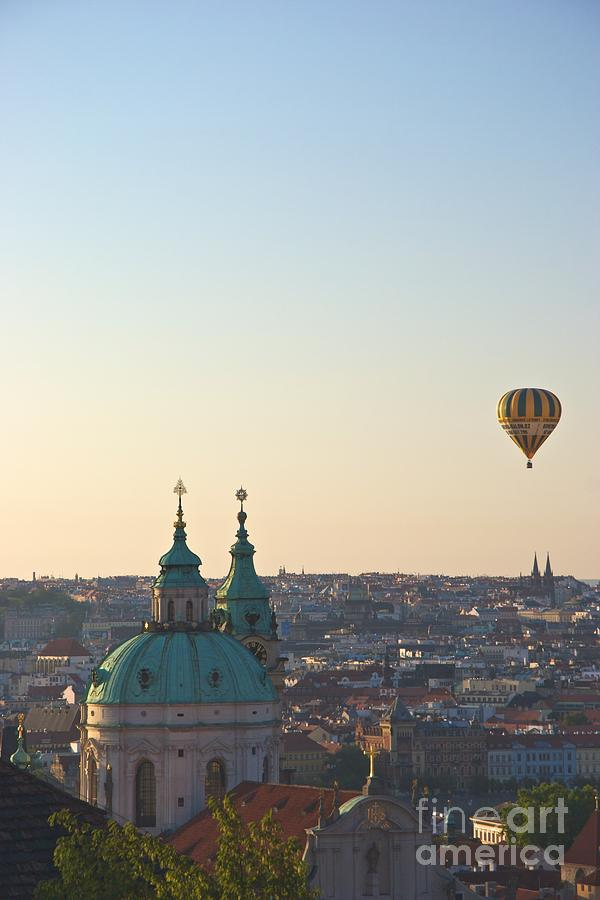 Roof Photograph - A Balloon Over Prague by Hideaki Sakurai