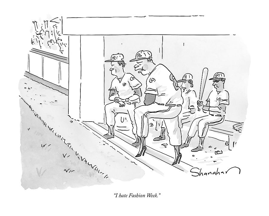 A Baseball Player Leans Out Of The Dugout Drawing by Danny Shanahan