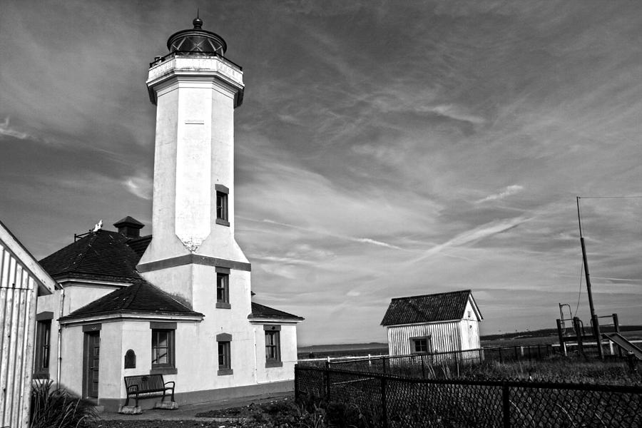 Lighthouse Photograph - A Beacon Of Light - Bw by Kerry Langel