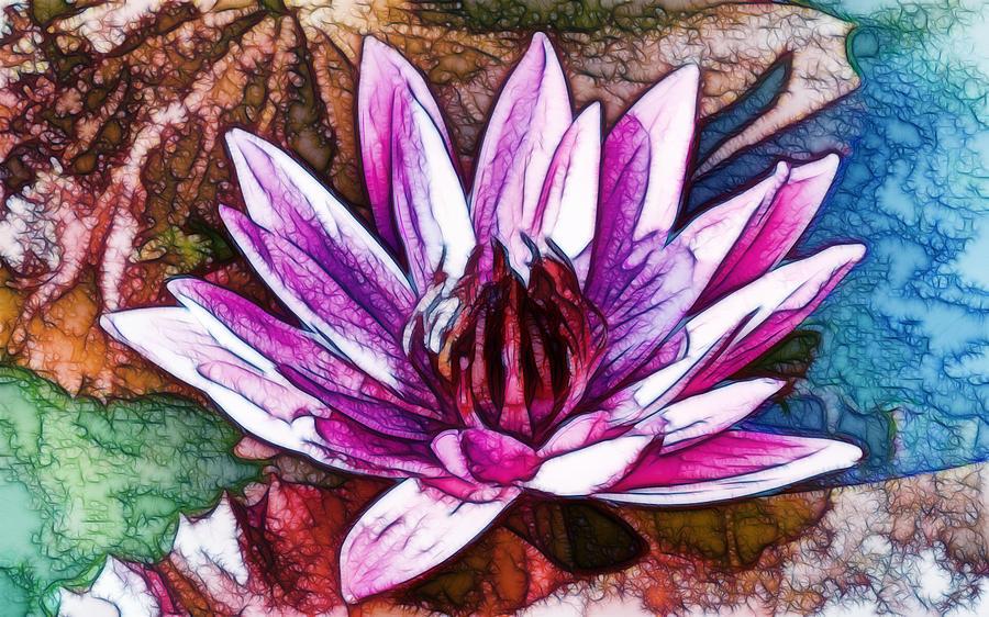 Aquatic Painting - A Beautiful Purple Water Lilies Flower by Jeelan Clark