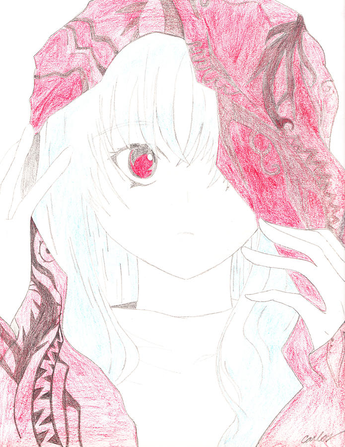 Anime Drawing - A Becoming Vampire by Carlos Hyman