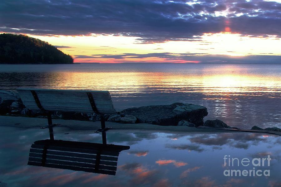 Bench Photograph - A Bench To Reflect by John Fabina