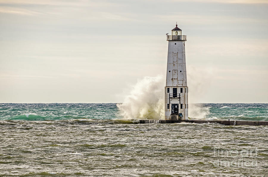 Frankfort Photograph - A Big Wave Crashes Into The Frankfort Light by Sue Smith