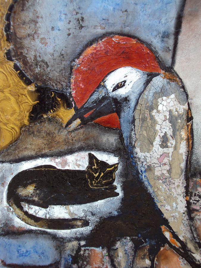 Cat Painting - A Black Cat And Old Tired Crow by Olga Dmytrenko