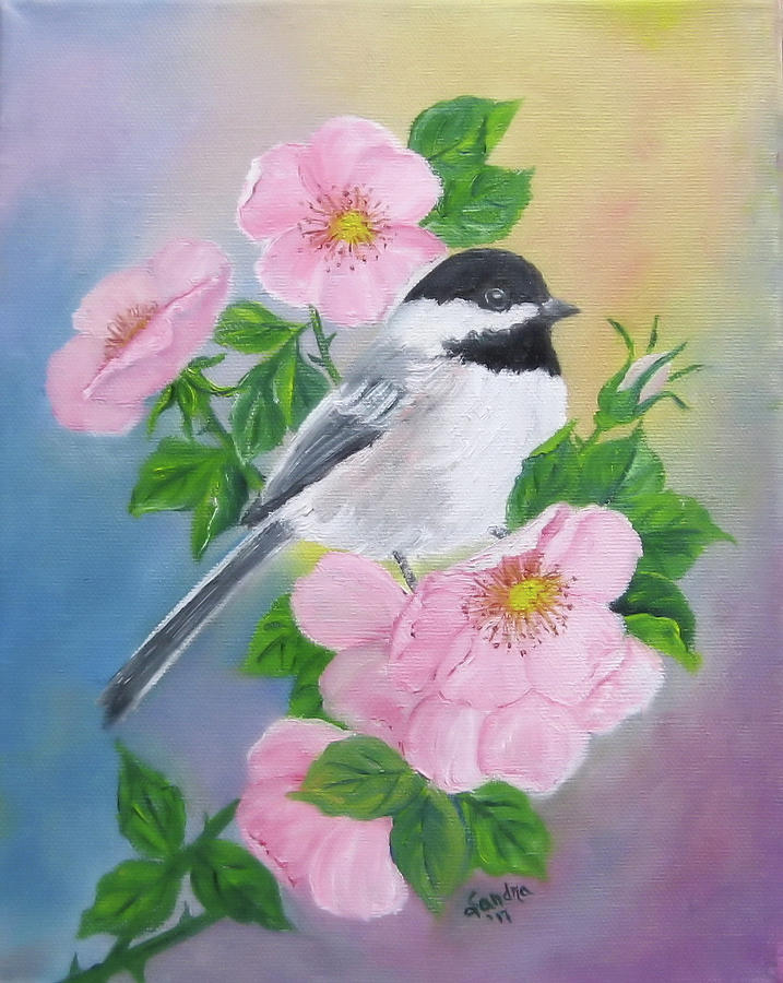 A Blackcapped Chickadee and Roses by Sandra Maddox