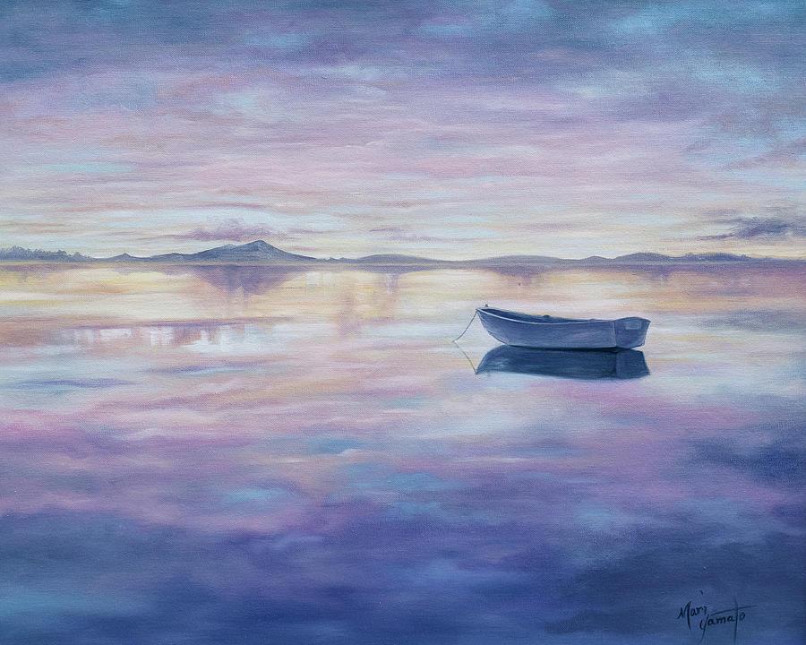 A Boat Adrift At Sunset Painting By Mari Yamato