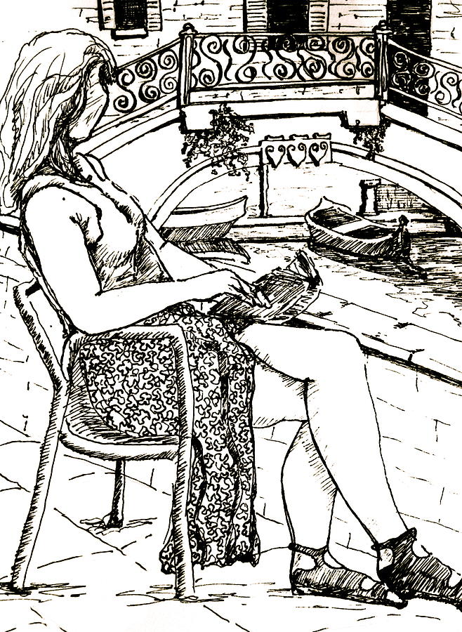 Female Drawing - A Book In Venice by Dan Earle
