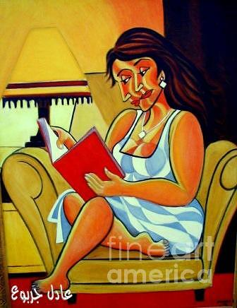 Abstract Painting - A Book Reader by Adel Jarbou