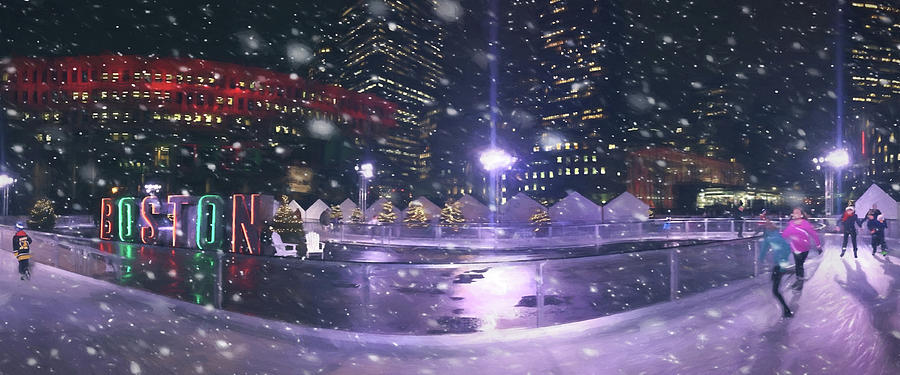 Boston Photograph - A Boston Winter - City Hall Plaza by Joann Vitali