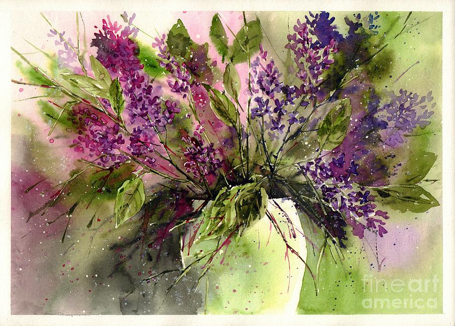 Floral Painting - A Bouquet Of May-lilacs by Suzann Sines