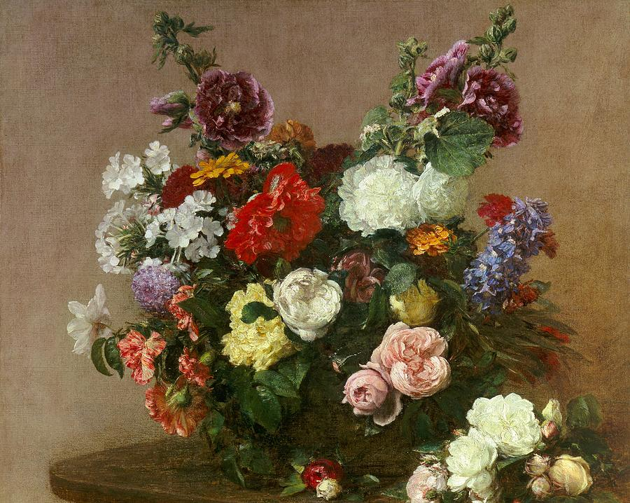 Still-life Painting - A Bouquet Of Mixed Flowers by Ignace Henri Jean Fantin-Latour