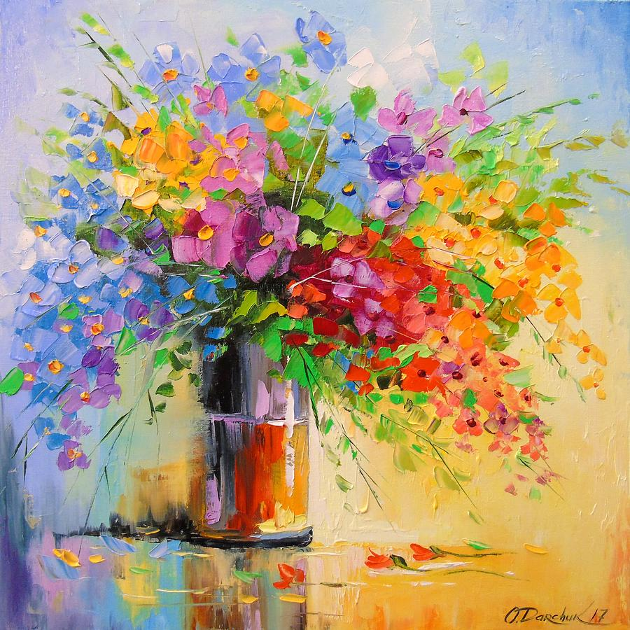 A bouquet of wild flowers painting by olha darchuk nature painting a bouquet of wild flowers by olha darchuk izmirmasajfo