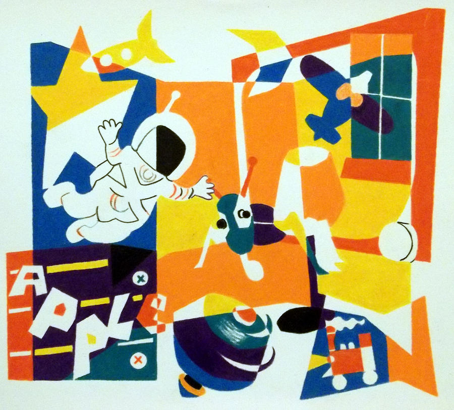 Colored Pencil Artwork Drawing - A Boys Room by Stephen Davis