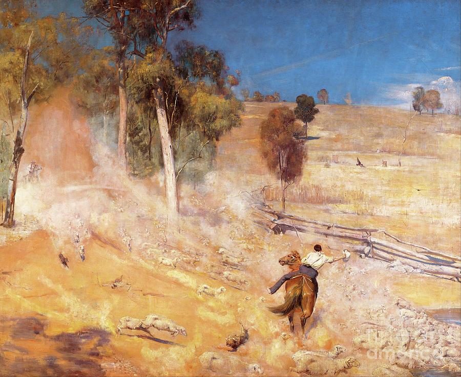 Tom Roberts A Break Away 1891 Horse Riding Poster HD Art Print or Canvas