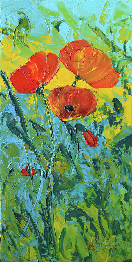 Poppies Painting - A Breath of Spring by Lee Bauman