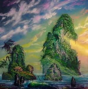Asian Painting - A Bridge In Paradise by Victor Kirton
