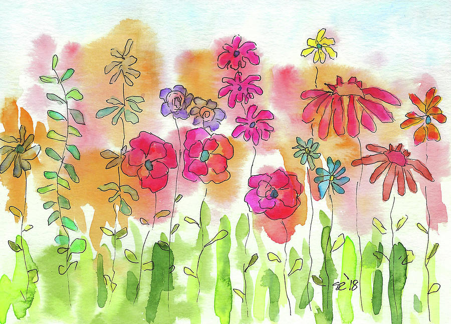 Watercolor And Ink Painting - A Bright Sunny Day by Susan Campbell