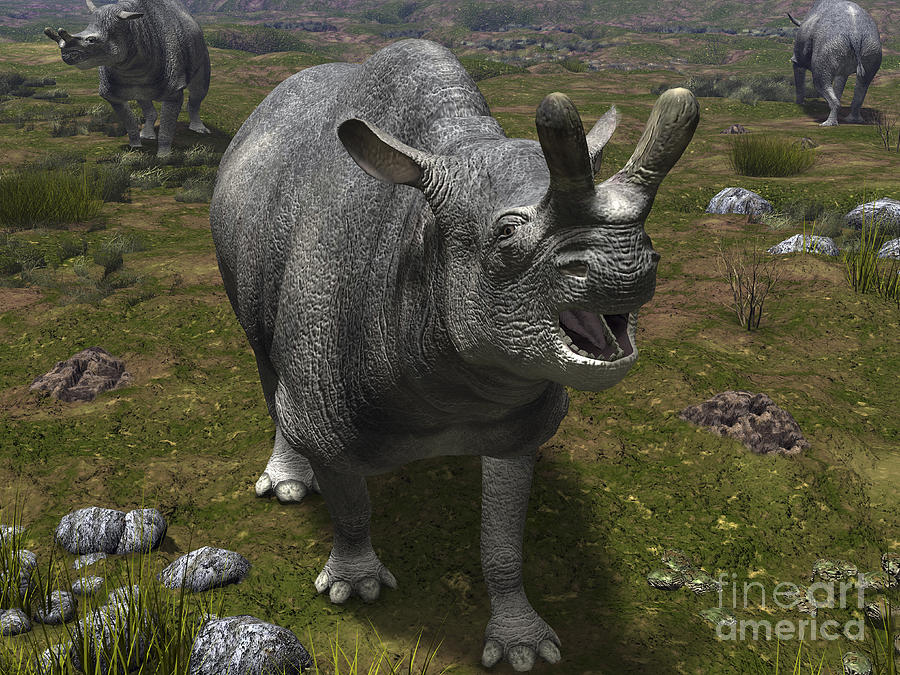 Earth Digital Art - A Brontotherium Leaves His Forest by Walter Myers