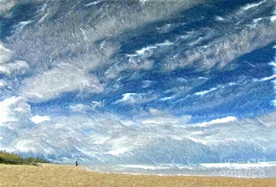 Beach Pastel - A Buffeting On The Beach by Wu Wei