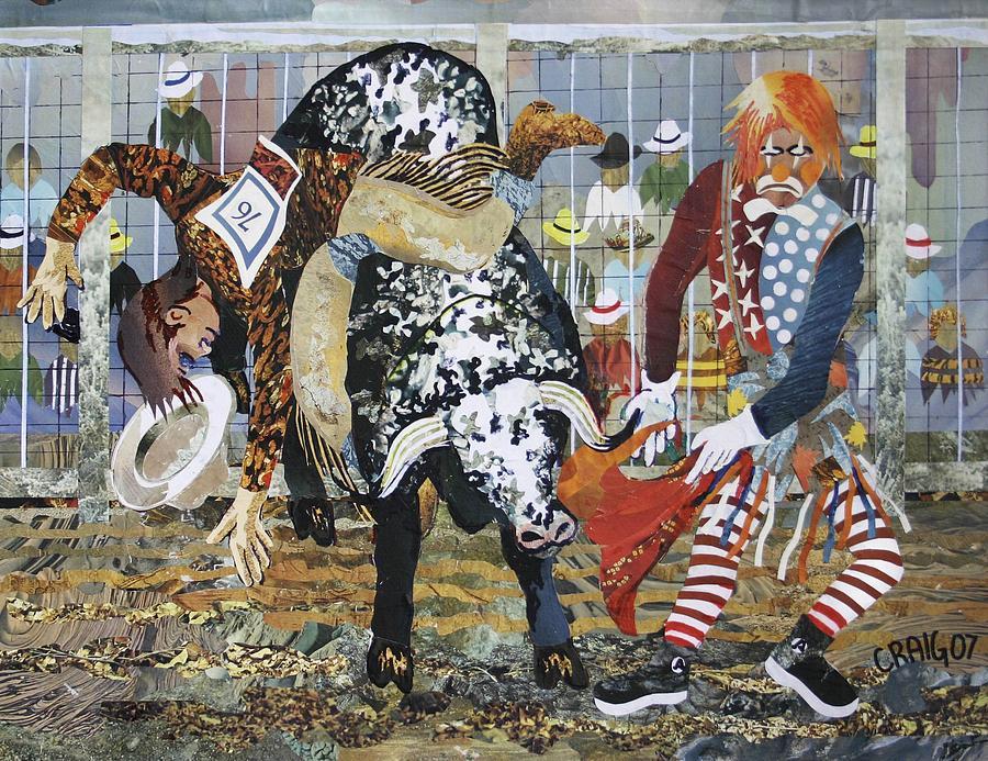 Rodeo Clown Mixed Media - A Bull Rider by Bob Craig