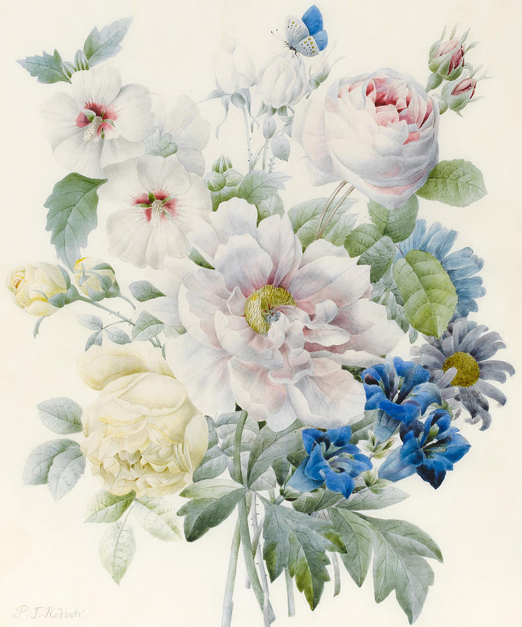 A Bunch Of Flowers Painting by Pierre Joseph Redoute