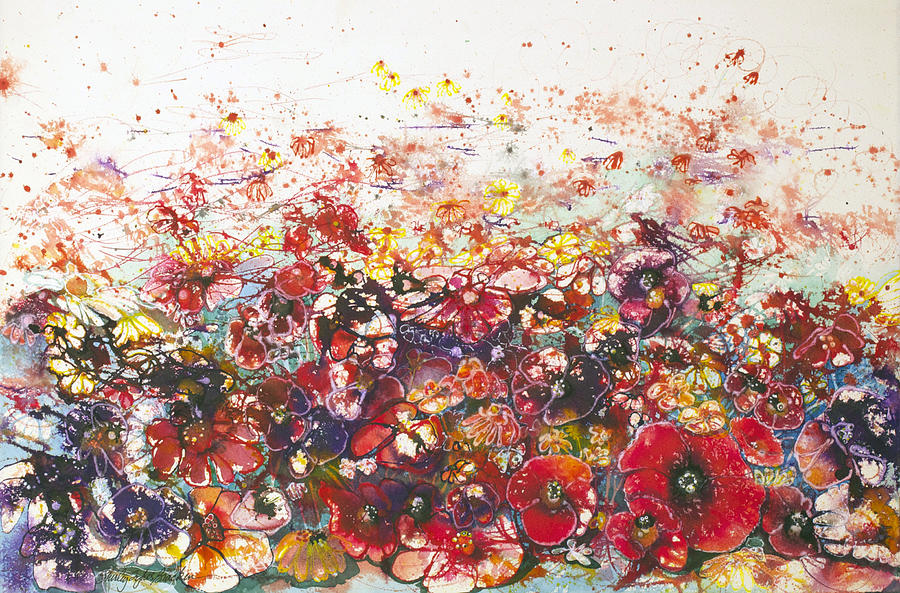 Poppies Painting - A Bunch Of Flowers by Shirley Sykes Bracken