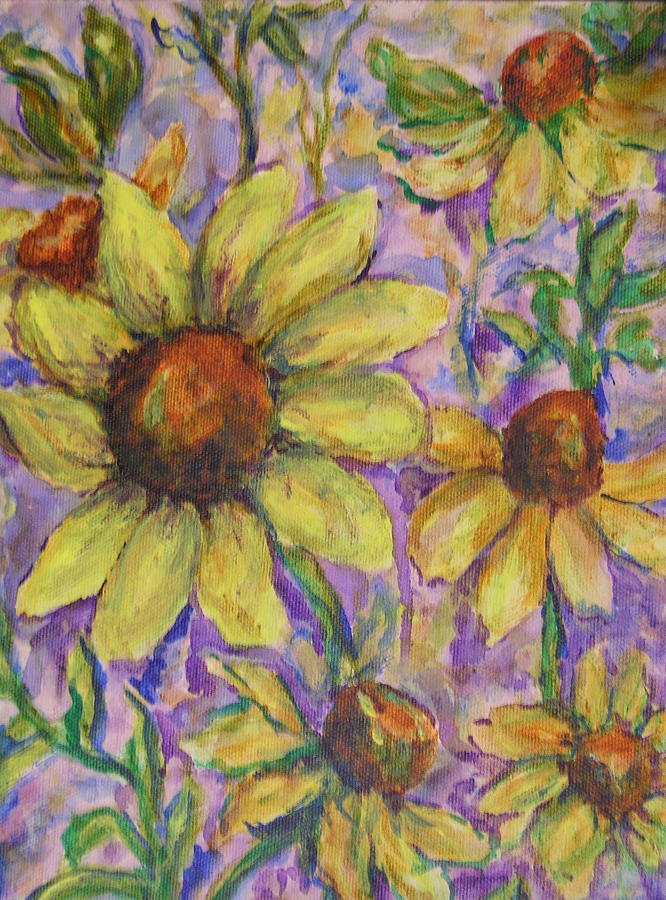 Daisies Painting - A Bunch of Yellow by Ladonna Idell