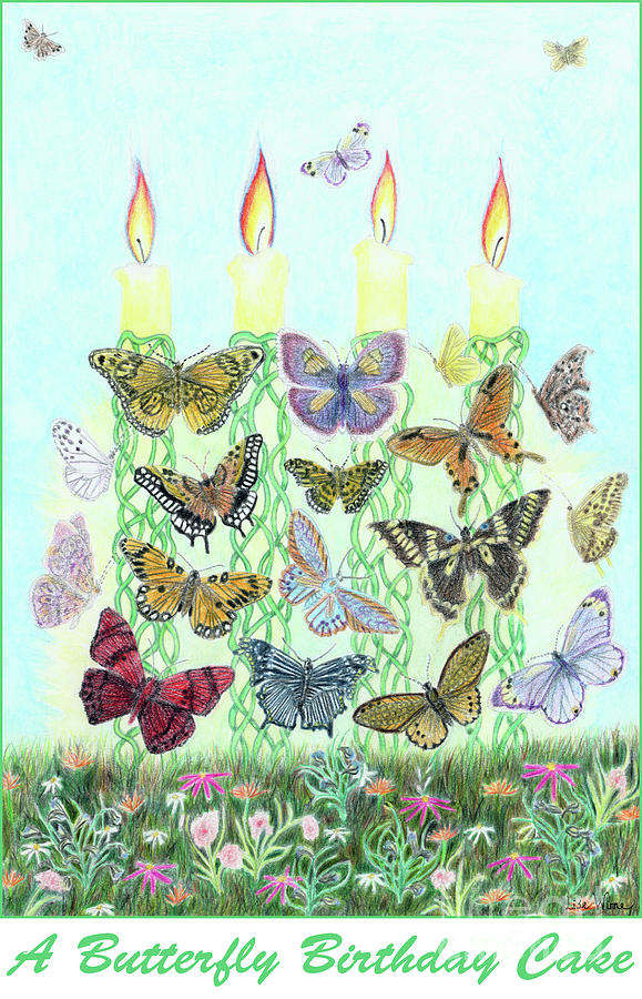 Cool A Butterfly Birthday Cake Painting By Lise Winne Personalised Birthday Cards Petedlily Jamesorg