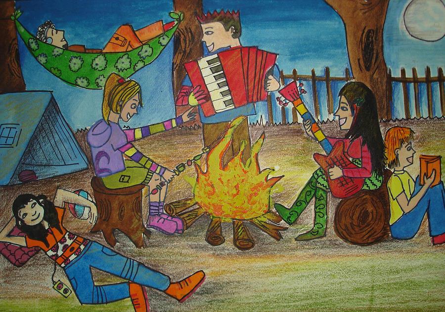 how to draw a cartoon campfire
