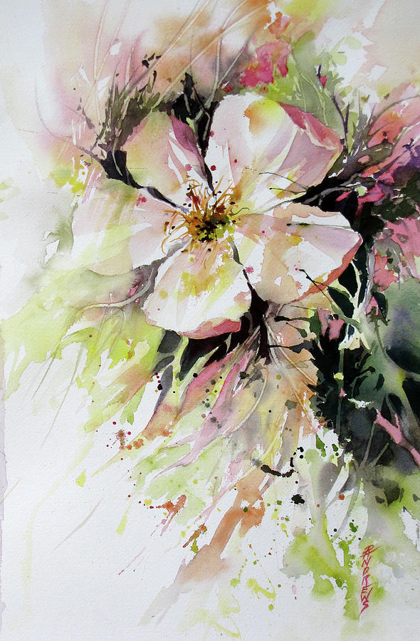 Flower Painting - A Celebration For Britta by Rae Andrews