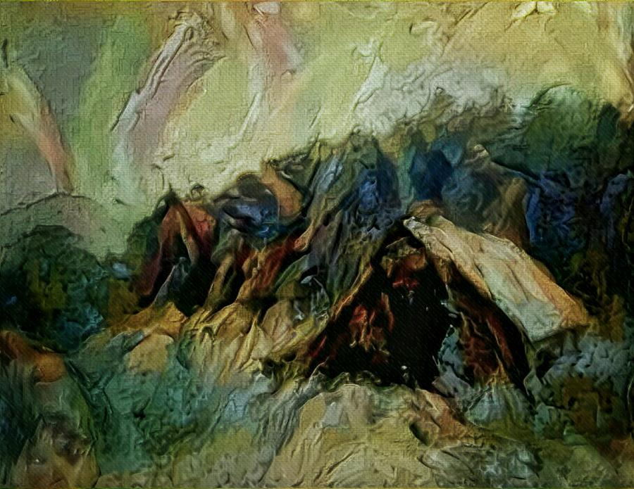 Grove Of Trees Painting - A Chance In The World Movie Dark Barn Crowded Into A Gully Between A Large Rocky Hill And A Grove Of by Mendyz