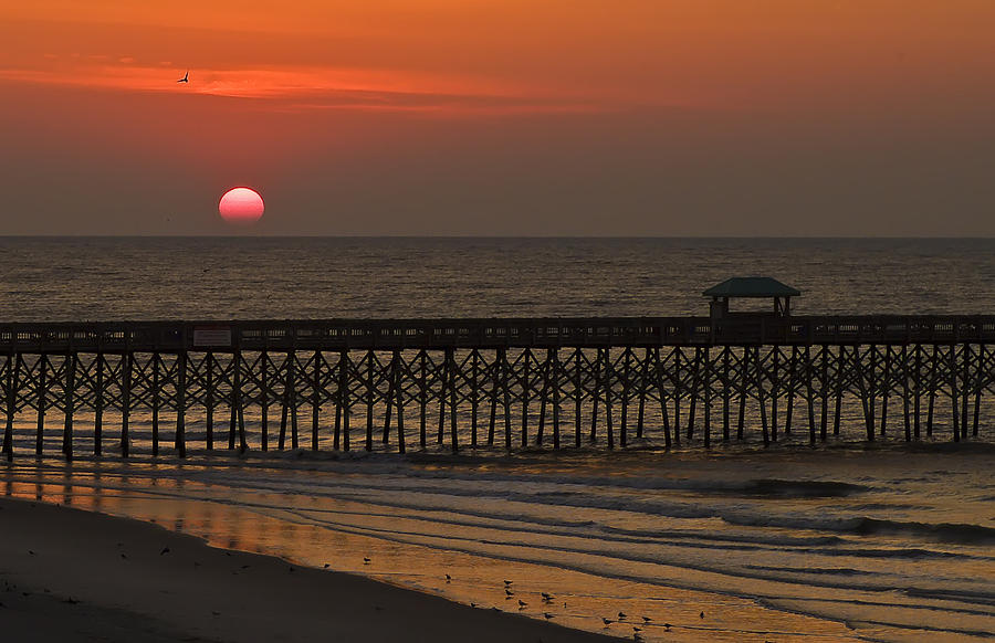 Landscape Photograph - A Charleston Sunrise On The Pier by Michael Whitaker