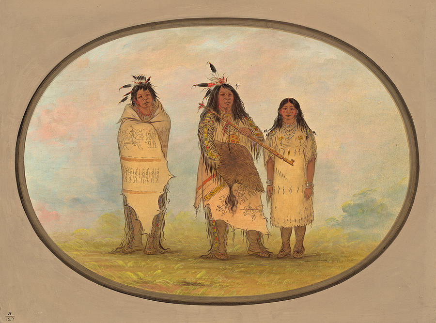 George Catlin Painting - A Cheyenne Chief His Wife And A Medicine Man by George Catlin