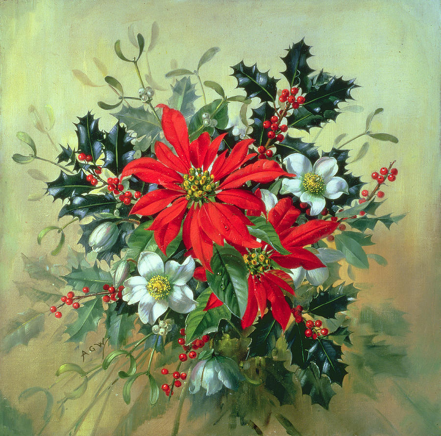 A christmas arrangement with holly mistletoe and other for Christmas images paintings