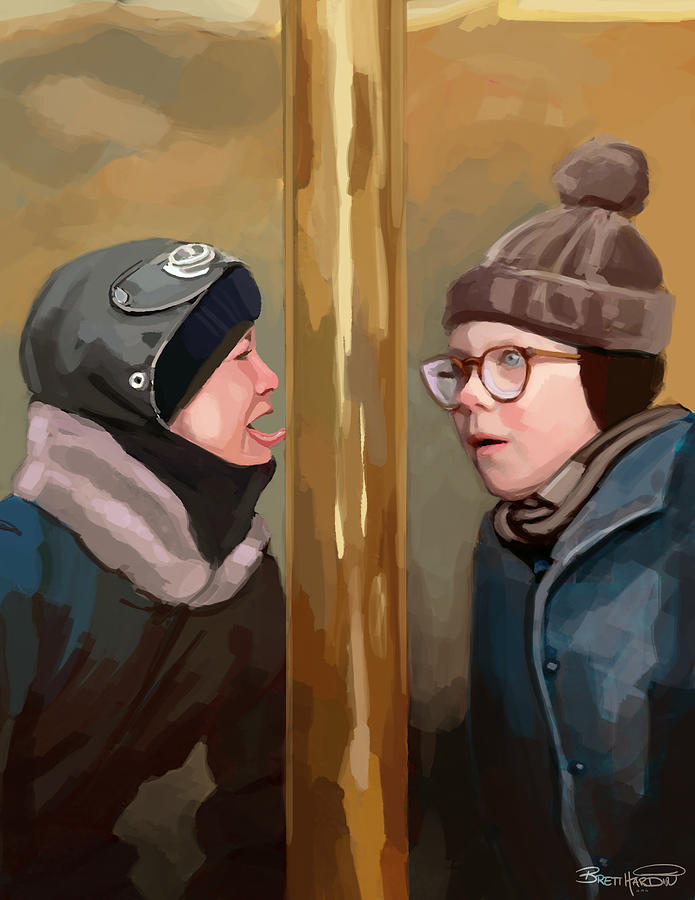 A Christmas Story Tongue Stuck To Pole Painting by Brett Hardin