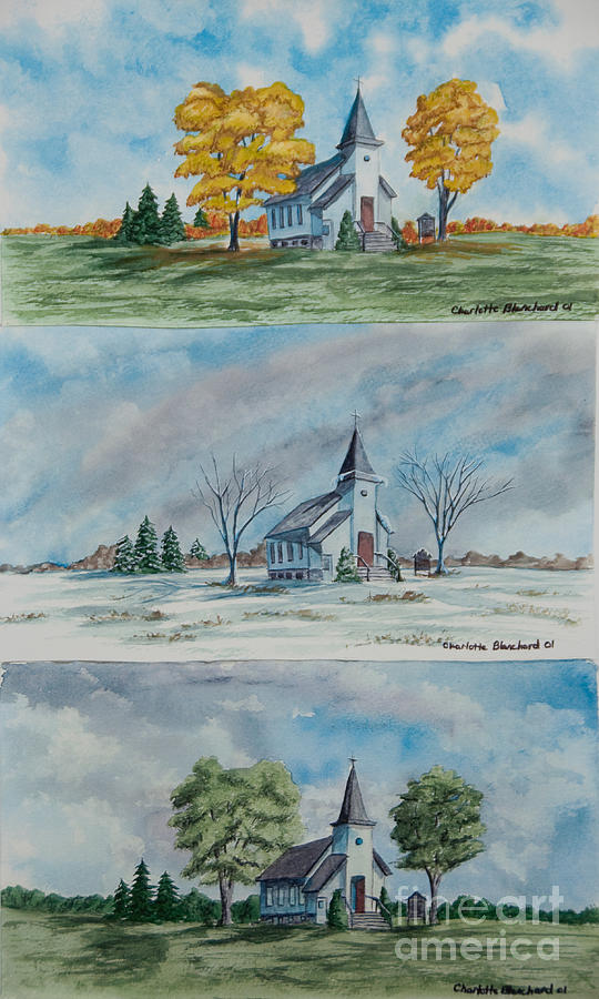 Country Summer Painting - A Church For All Seasons by Charlotte Blanchard