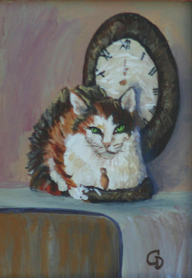Cats Painting - A Clockwork Cat by Gail Daley