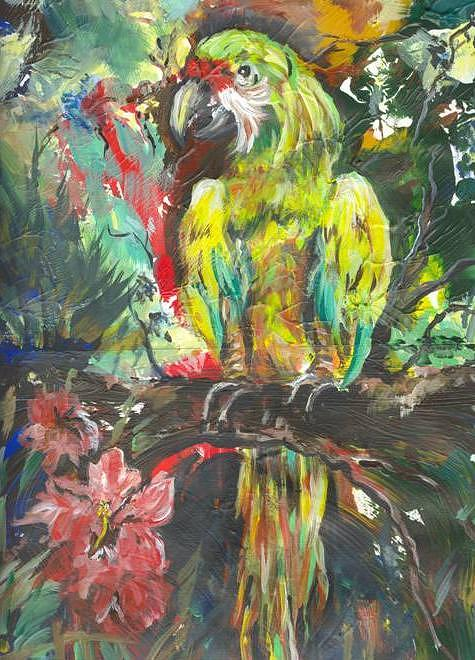 Wildlife Painting - A Colorful World by Linda Richardson