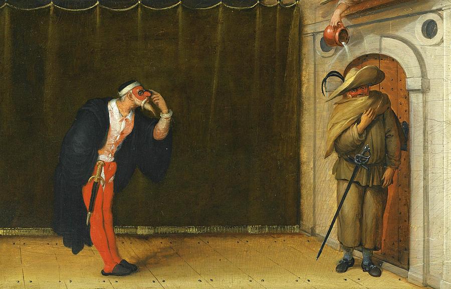 Admirable A Commedia Dell'arte Scene Depicting Pantalone And Brighella TQ-37