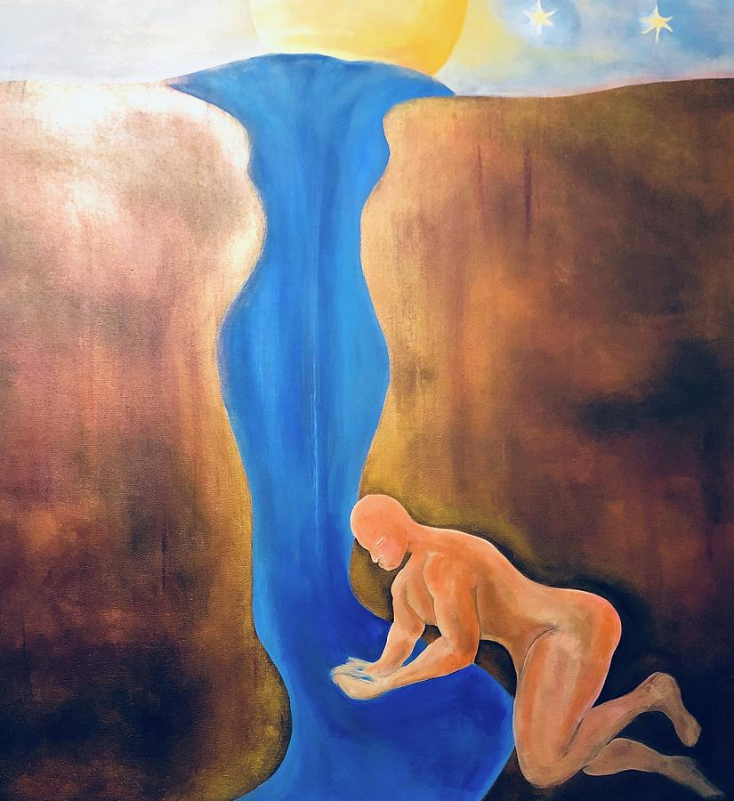 River Painting - A Compassionate Thirst by Ron Tango Jr