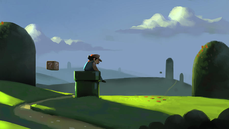 Mario Painting - A Contemplative Plumber by Michael Myers
