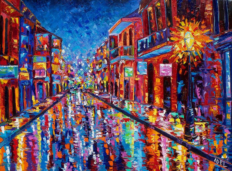 New orleans painting a cool night on bourbon street by elaine adel cummins