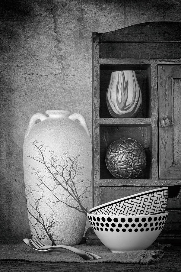 B&w Photograph - A Corner Of The Kitchen by Tom Mc Nemar