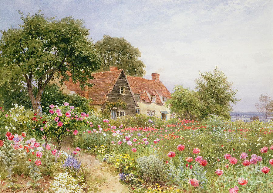 A Cottage Garden Painting By Henry Sutton Palmer