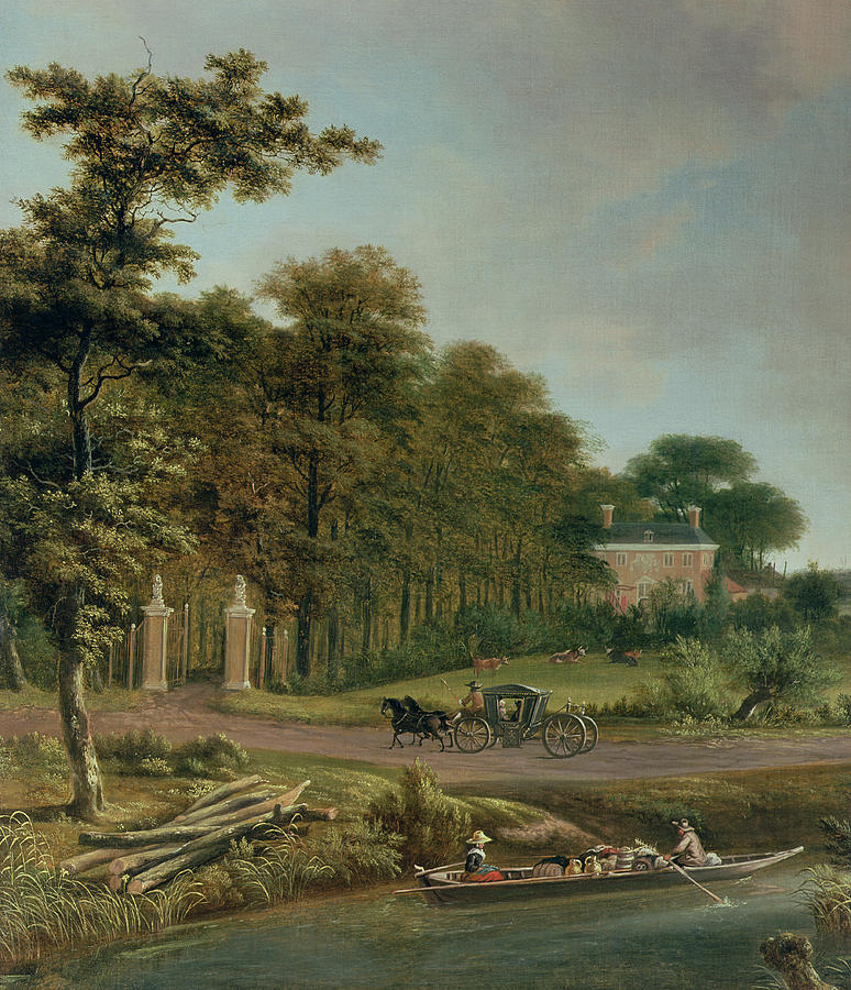 Country Painting - A Country House by J Hackaert