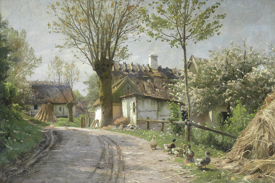 Peder Mork Monsted Painting - A Country Lane Jyllinge by Peder Mork Monsted